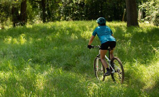 Cyklistka v lese