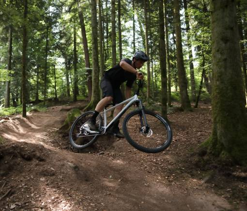 cyklista na vyjížďce v lese